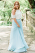Two Piece Blue Chiffon Bridesmaid Dresses,Cheap Bridesmaid Dresses,WGY0383