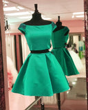 Simple Cute Two Piece Cap Sleeve Blue Homecoming Dresses 2018, CM471