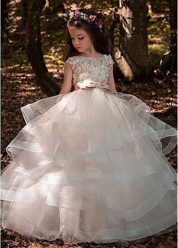 dbd629c490 Cheap Organza Lace Appliques Older Flower Girl Dresses With Beadings    Belt