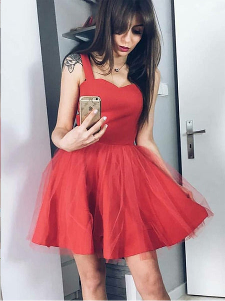 A-Line Square Neck Red Tulle Short Homecoming Dresses ,Short Prom Dresses,BDY0318