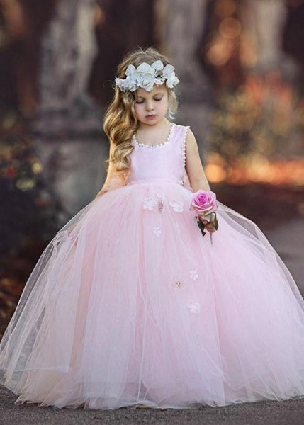 Pink Halter Tulle Flower Girl Dresses With Handmade Flower,Cheap Toddler Flower Girl Dresses,FGY0196