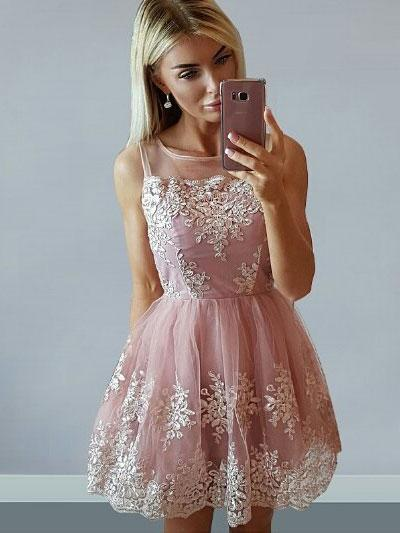 Cheap Cute Pink Scoop Straps Lace Homecoming Dresses CM473