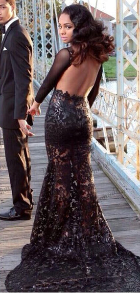 Sexy Backless Mermaid Long sleeves Black Lace Prom Dresses,Cheap Prom Dresses,PDY0665