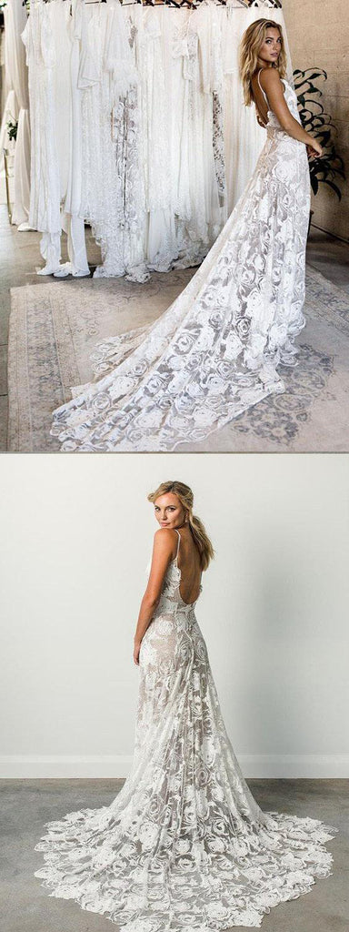 Spaghetti Straps Neckline Sheath Wedding Dress With Trailing, Open Back Wedding Dresses, WDY0160