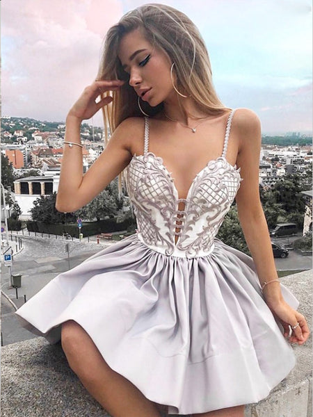 A-Line Spaghetti Straps Grey Lace Homecoming Dress,Short Prom Dresses,BDY0321