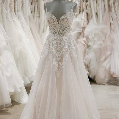 5a34166d980f0 Sweetheart Spaghetti Straps Floor-length A-line Lace Cheap Wedding Dresses,  WDY0138