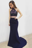 2 pieces Halter Navy Rhinestone Beaded Prom Dresses, Cheap Mermaid Prom Dresses, BG0347