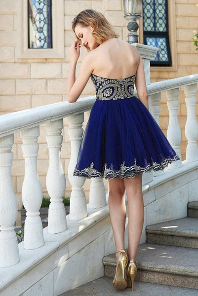 Luxurious Royal_Blue Tulle Gold Lace Homecoming Dresses ,Short Homecoming Dresses,BDY0204