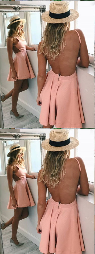 A-Line Bateau Backless Short Pink Satin Homecoming Dress,Short Prom Dresses,BDY0322