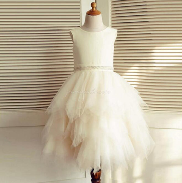 Ivory Satin Top Beaded Belt Tulle Flower Girl Dresses, Pixie Tutu Dresses, Little Girl Dresses, FGY0142