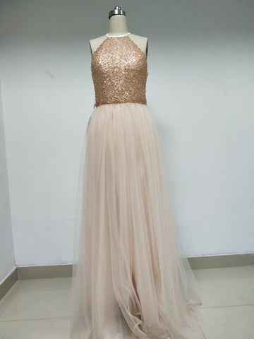 Discount Sequin Tulle Long Prom Dresses  in Size In Stock ,DD1006