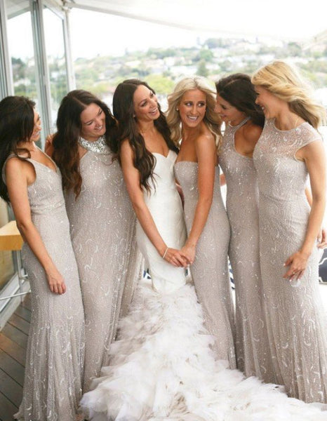 Elegant Strapless Long Sliver Grey Mermaid Bridesmaid Dress With Sequins,Bridesmaid Gown,WGY0179