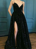 V-neck Black Sequin Long Prom Dresses ,Cheap Prom Dresses,PDY0441