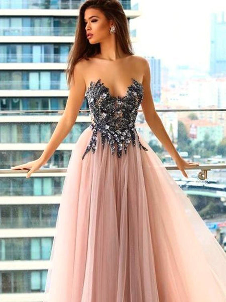 Sweetheart A-line Bead Pink Tulle  Evening Dresses ,Cheap Prom Dresses,PDY0601