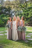Spaghetti Straps Bridesmaid Dresses,V-neck Chiffon Bridesmaid Dresses,Cheap Bridesmaid Dresses,WGY0267