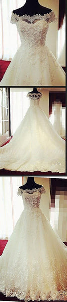 Gorgeous Off Shoulder Cap Sleeve Vantage Lace Wedding Party Dresses, Dresses For Wedding, WDY0143