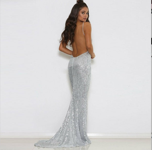 2019 Mermaid V-neck Sweep Train Sliver Sequined Prom Dress ,Evening Dresses ,Party Dress, PDY0169