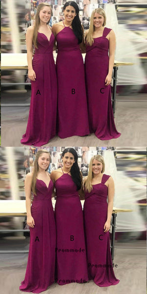 A-line Mismatched Fuchsia Long Bridesmaid Dresses,Cheap Bridesmaid Dresses,WGY0402