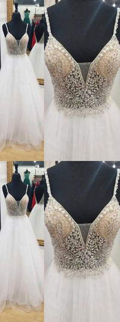 A-Line Deep V-Neck Backless White Prom Dress with Beading, Evening Dress,PDY0355