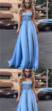 A-Line Spaghetti Straps SleevelessBlue Satin Prom Dresses,Cheap Prom Dresses,PDY0496