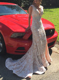 Mermaid V-Neck Lace Long Prom Dresses ,Cheap Prom Dresses,PDY0648