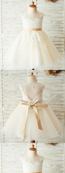 A-line Ivory Tulle Flower Girl Dresses With Lace Applique,Cheap Flower Girl Dresses,FGY0188