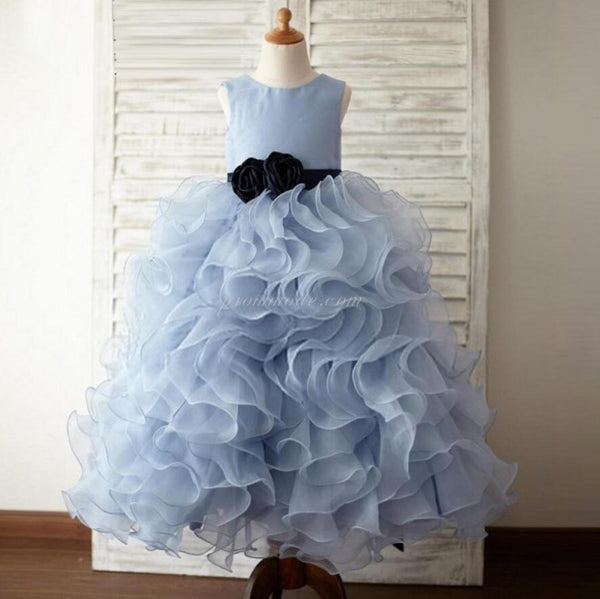 Dusty Blue Organza Floral Flower Girl Dresses With Belt, Little Girl Dresses, FGY0115