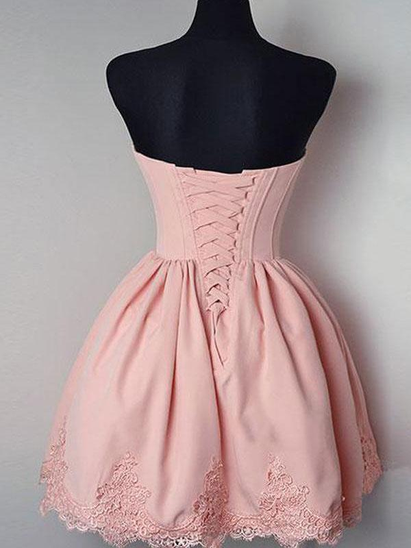 Cheap Short Simple Cute Sweetheart Pink Homecoming Dresses CM480