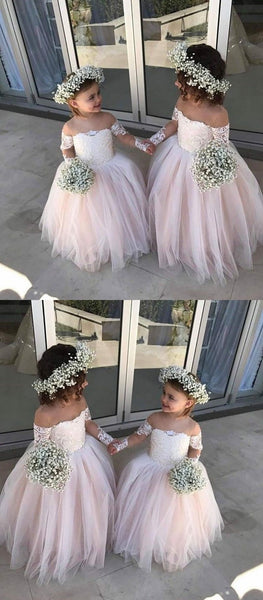 Pink Off-the-Shoulder Lace Flower Girl Dresses ,Cheap Toddler Flower Girl Dresses,FGY0201