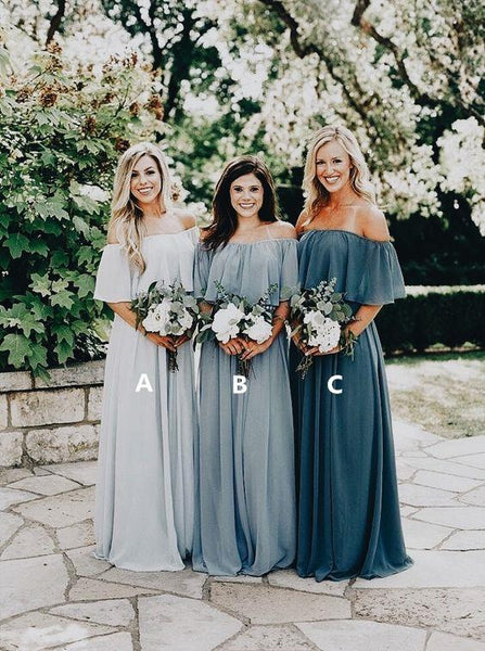 Cheap Off Shoulder Chiffon Custom Long Bridesmaid Dresses, WG239