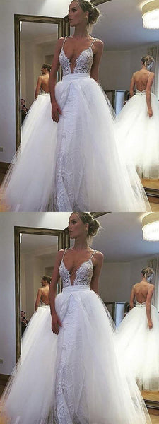 White Tulle  Open Back Spaghetti Straps Long Lace Wedding Dresses, Cheap Wedding Dresses, WDY0206
