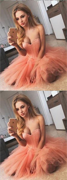 A-Line Sweetheart Pink Tulle Homecoming Dress With Beading,Short Prom Dresses,BDY0325
