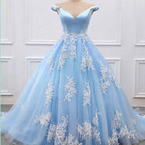 Stylish Blue V Neckline Off Shoulder Long Tulle Senior Prom Dress With Appliques, Fashion Gown. PDY0185