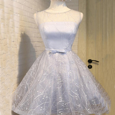 Elegant Round Neckline Blue Organza Homecoming Dresses With Flower ,Cheap Short Prom Dresses,BDY0229