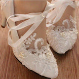 Lace Pearls Pointed Toes Women Wedding Shoes With Ribbons Lace Up, SY0122