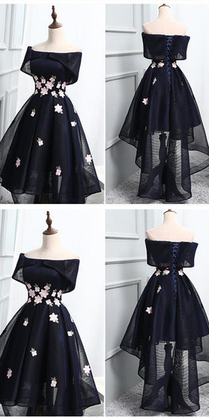 Off-the-Shoulder Black Organza Homecoming Dresses With Handmade Flower ,Cheap Short Prom Dresses,BDY0230