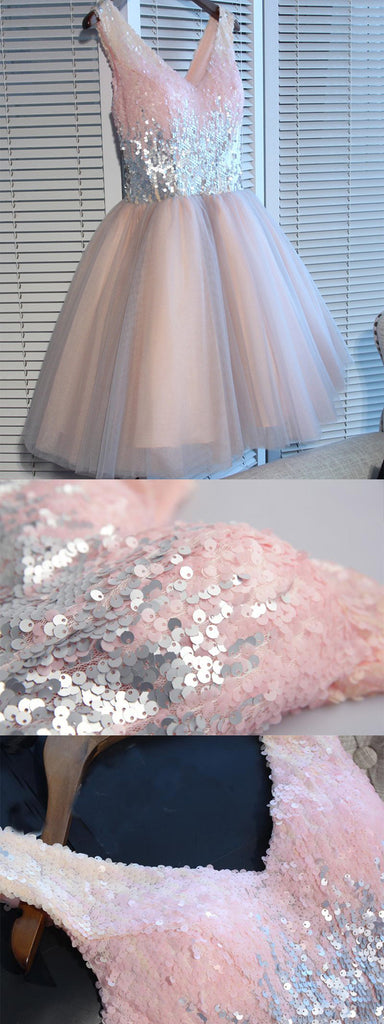 Shinning Sequin V-neck Pink Tulle Homecoming Dresses ,Cheap Short Prom Dresses,BDY0231