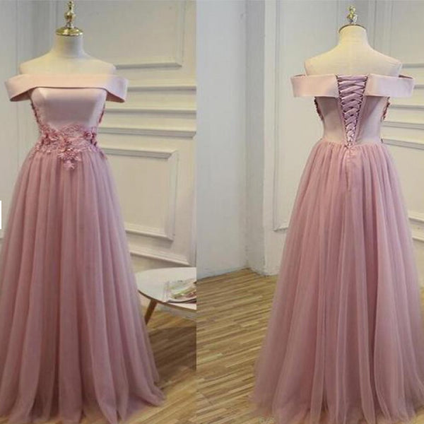 Outlet Morden Pink Long Prom Evening Dress With Lace Up Sequin Tulle Floor-length Dresses  , PDY0175