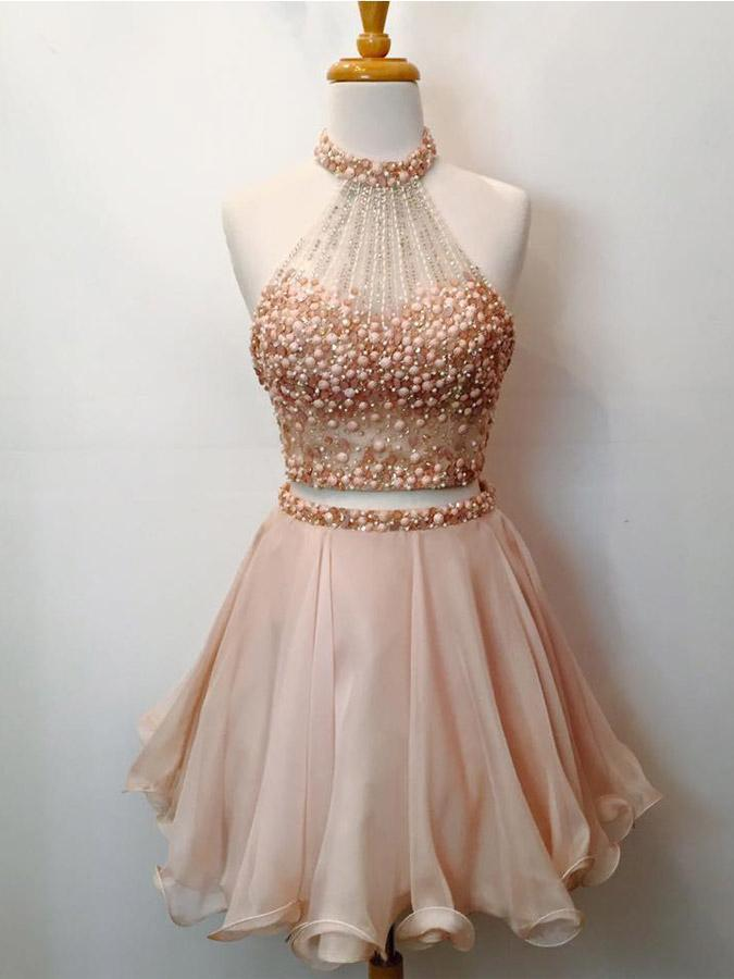 Stunning Two Pieces Beading Short Cheap Homecoming Dresses Online, CM572
