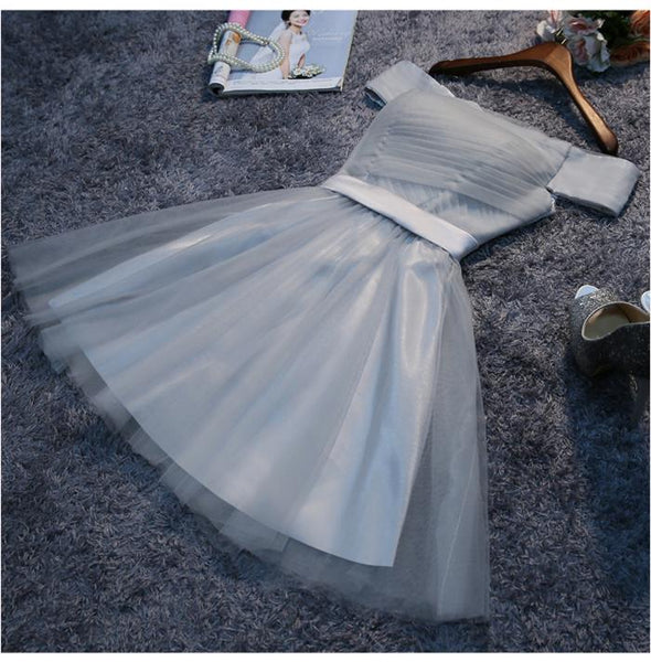 Off-The-Shoulder Lace Up Grey Tulle Homecoming Dresses ,Cheap Short Prom Dresses,BDY0233