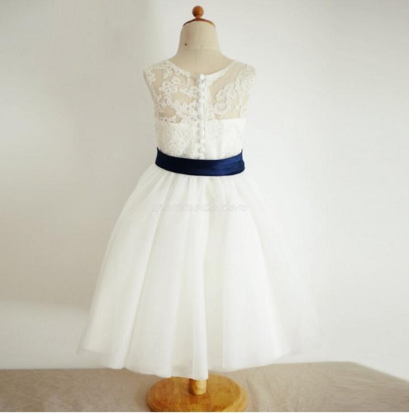 Illusion Lace Tulle Flower Girl Dresses with Navy Belt, Affordable Flower Girl Dresses, FGY0130