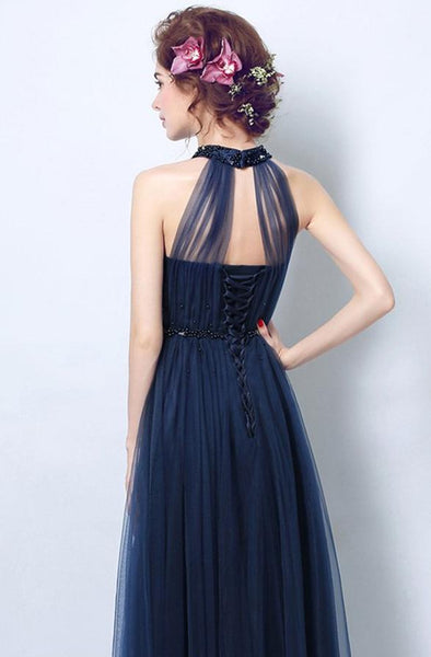 Long Tulle Sleeveless A-Line Halter Beading Long Wedding Guest Dresses,Bridesmaid Dresses,WGY0160