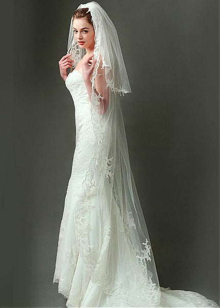 Stunning Tulle Long Wedding Veil With Lace Appliques ,WV0127
