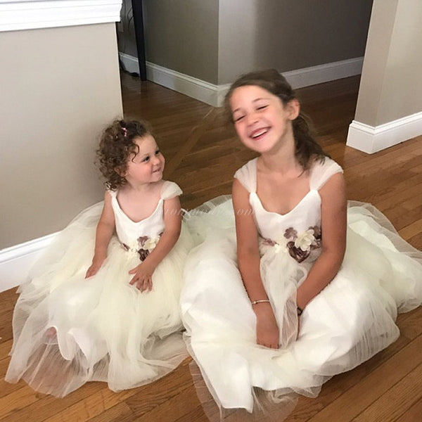 Ivory Tulle Flower Belt Flower Girl Dresses, Popular Little Girl Dresses, FGY0138