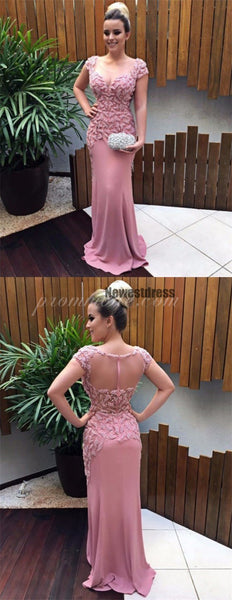 Cap Sleeves Mermaid Pink Scoop Fashion Prom Dresses, Elegant Modest Prom Dress, PDY0147
