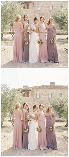 Chiffon Mimsatched Cheap Long Bridesmaid Dresses Online, WG204