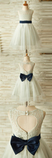 Ivory Beautiful Lace and Tulle Sleeveless Scoop Cheap Flower Girl Dresses with Bow, FGY0131