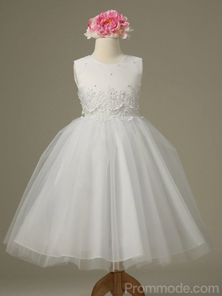 White Satin Tulle Formal Pagent Long Flower Girl Dresses, Appliqued Cute Party Dresses, EPR416