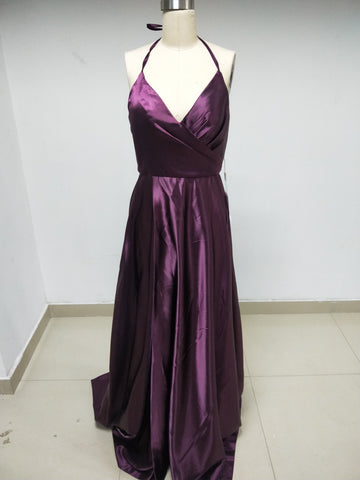 Discount Purple Spaghetti Straps Long Bridesmiad Dresses in Size In Stock ,DD1005