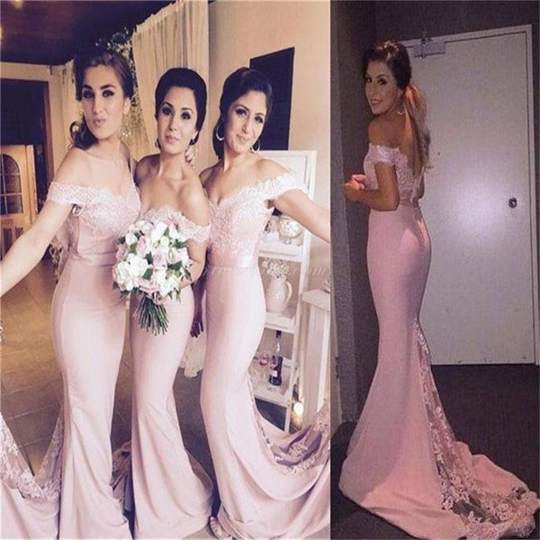 Cheap Long Mermaid Pink Off-shoulder Pretty Small Tail Most Popular Best Sales Bridesmaid Dresses ,EPR002
